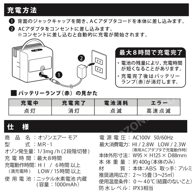 オゾンエアーモアー MORE MR-1